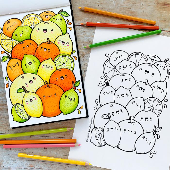 Kawaii Citrus Fruit colouring page