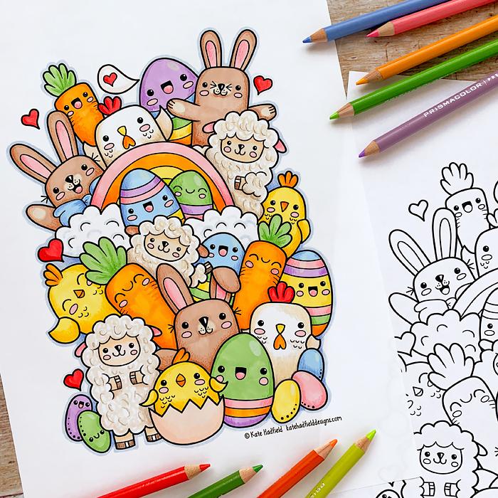 Kawaii Easter colouring page