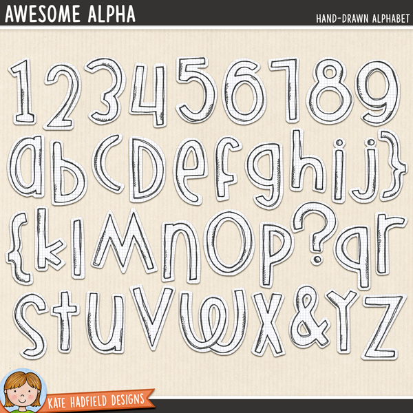 Awesome Alpha - doodled digital scrapbook alphabet / alphabet clip art! Coordinates with the Audaciously Awesome kit. Hand-drawn doodles for digital scrapbooking, crafting and teaching resources from Kate Hadfield Designs.
