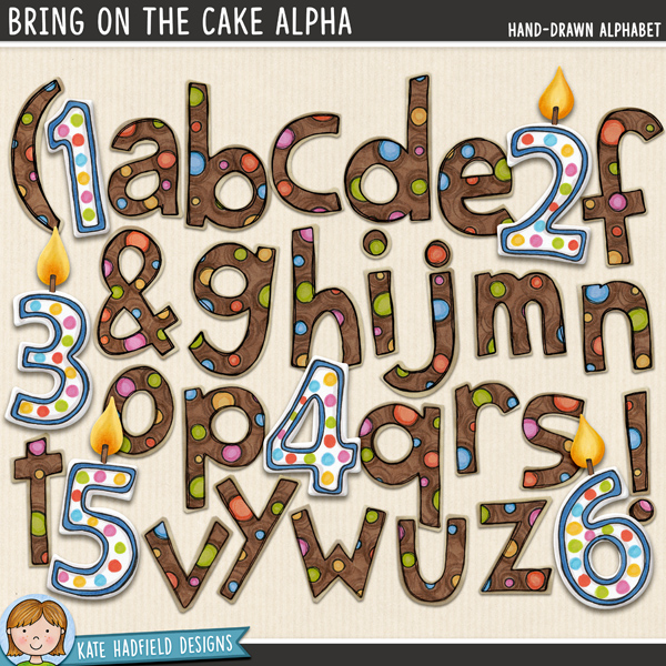 Bring On The Cake - hand-drawn birthday candle digital scrapbook alpha / alphabet clip art! Hand-drawn doodles for digital scrapbooking, crafting and teaching resources from Kate Hadfield Designs.