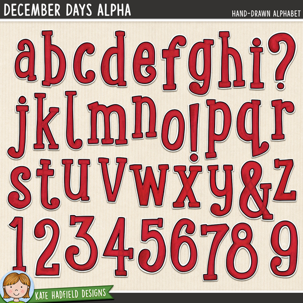A colourful painted alphabet that's sure to add a splash of Christmas (or Valentine's!) colour to your pages and projects! Contains lowercase letters a-z, numerals 0-9 and the following punctuation & ? ! Co-ordinates with the rest of the Document Your December 2014 collection.FOR PERSONAL & EDUCATIONAL USE (please see my Terms of Use for more information)
