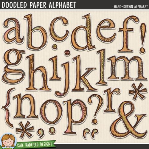 Doodled Paper Alphabet
