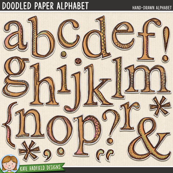 Doodled Paper Alpha digital scrapbook alphabet / alphabet clip art! Hand-drawn doodles for digital scrapbooking, crafting and teaching resources from Kate Hadfield Designs.