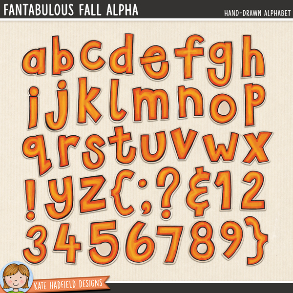 Fantabulous Fall Alphabet - colourful autumn hand-drawn digital scrapbook alphabet / cute Fall alphabet clip art! Hand-drawn doodles and illustrations for digital scrapbooking, crafting and teaching resources from Kate Hadfield Designs.