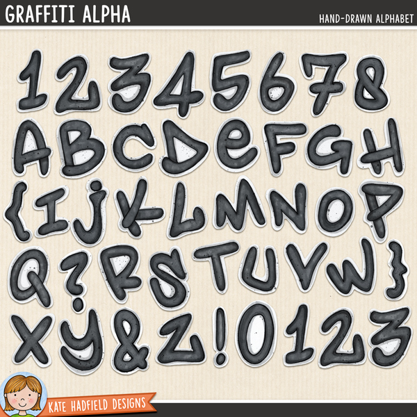 Graffiti Alpha - hand-drawn graffiti style digital scrapbook alphabet / alphabet clip art! Coordinates with the Srsly Stoked kit. Hand-drawn doodles for digital scrapbooking, crafting and teaching resources from Kate Hadfield Designs.