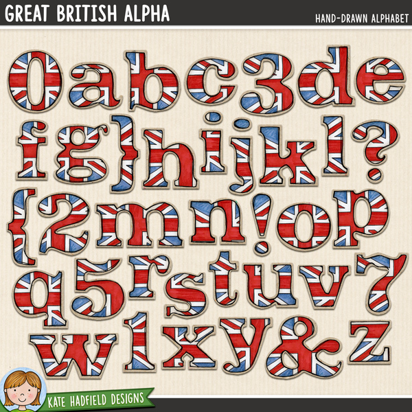 Great British Alphabet - hand-drawn British digital scrapbook alpha / alphabet clip art! Coordinates with the Cool Britannia and Great Britons illustrations. Hand-drawn doodles for digital scrapbooking, crafting and teaching resources from Kate Hadfield Designs.