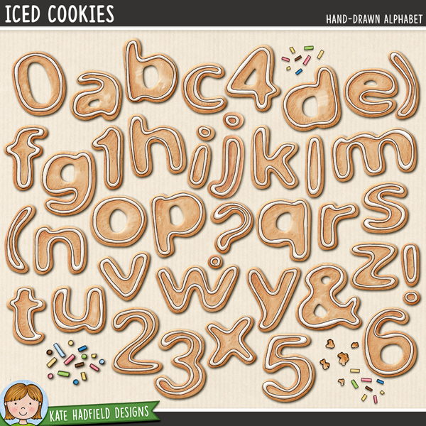 Iced Cookies - hand-drawn Christmas cookies digital scrapbook alpha / alphabet clipart! Hand-drawn illustrations for digital scrapbooking, crafting and teaching resources from Kate Hadfield Designs.