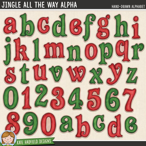 Jingle All The Way Alpha - Christmas Elf alphabet! Fun hand-drawn Christmas digital scrapbook alphabet / alphabet clip art! Hand-drawn illustrations for digital scrapbooking, crafting and teaching resources from Kate Hadfield Designs. #digitalscrapbooking #digiscrap