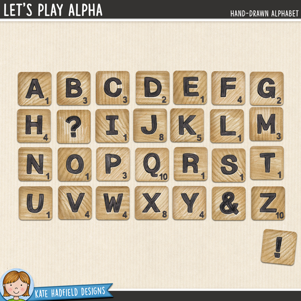 Let's Play Alphabet - Hand-drawn scrabble tile digital scrapbook alphabet / alpha clip art! Coordinates with the Let's Play illustrations. Hand-drawn doodles for digital scrapbooking, crafting and teaching resources from Kate Hadfield Designs.