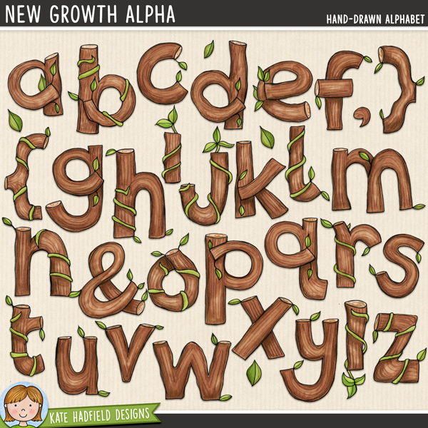 New Growth Alpha - Hand-drawn digital scrapbook alphabet / alphabet clip art! Hand-drawn doodles for digital scrapbooking, crafting and teaching resources from Kate Hadfield Designs.