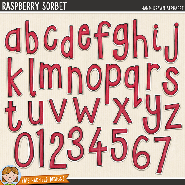Raspberry Sorbet - hand-drawn digital scrapbook alphabet / alphabet clip art! Hand-drawn doodles for digital scrapbooking, crafting and teaching resources from Kate Hadfield Designs.