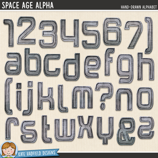 Space Age Alpha - hand-drawn grungy metal style digital scrapbook alpha / alphabet clip art! Coordinates with the Blast Off kit. Hand-drawn doodles for digital scrapbooking, crafting and teaching resources from Kate Hadfield Designs.