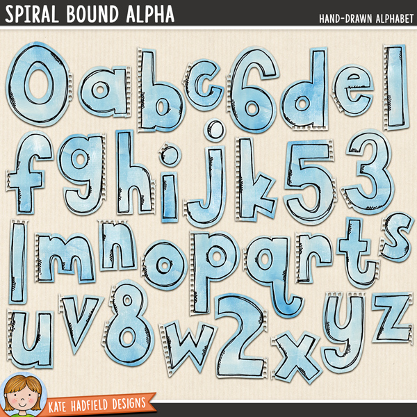 Spiral Bound Alpha - hand-drawn notebook digital scrapbook alpha / alphabet clip art! Hand-drawn illustrations for digital scrapbooking, crafting and teaching resources from Kate Hadfield Designs.