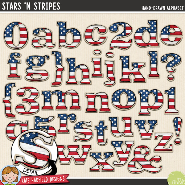 Stars 'n Stripes - Hand-drawn 4th July digital scrapbook alphabet / Americana alphabet clip art! Hand-drawn doodles for digital scrapbooking, crafting and teaching resources from Kate Hadfield Designs.