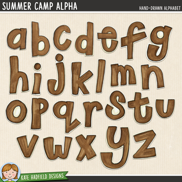 Summer Camp digital scrapbook alpha / alphabet clip art! Coordinates with the Summer Camp kit. Hand-drawn doodles for digital scrapbooking, crafting and teaching resources from Kate Hadfield Designs.
