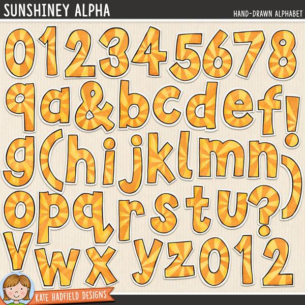 Sunshiney - hand-drawn summer digital scrapbook alpha / sunburst alphabet clip art! Hand-drawn illustrations for digital scrapbooking, crafting and teaching resources from Kate Hadfield Designs.