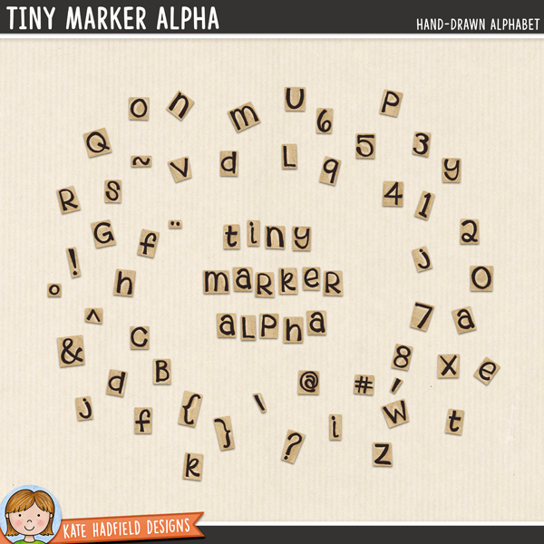 Tiny Marker Alpha - teeny-tiny hand-drawn digital scrapbook alpha / alphabet clip art! Hand-drawn illustrations for digital scrapbookers, crafters and teachers from Kate Hadfield Designs.