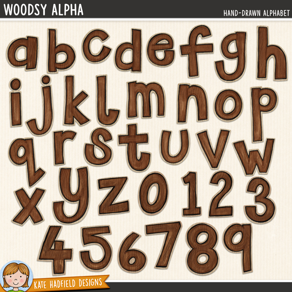 Woodsy Alpha - Hand-painted digital scrapbook alphabet clip art! Hand-drawn doodles for digital scrapbooking, crafting and teaching resources from Kate Hadfield Designs.
