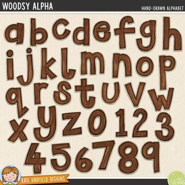 Woodsy is a hand drawn alpha with more than a little hint of woodgrain! Perfect for adding a touch of hand drawn whimsy to all your outdoorsy pages and projects! Contains lowercase letters and numerals as shown.FOR PERSONAL & EDUCATIONAL USE (please see my Terms of Use for more information)