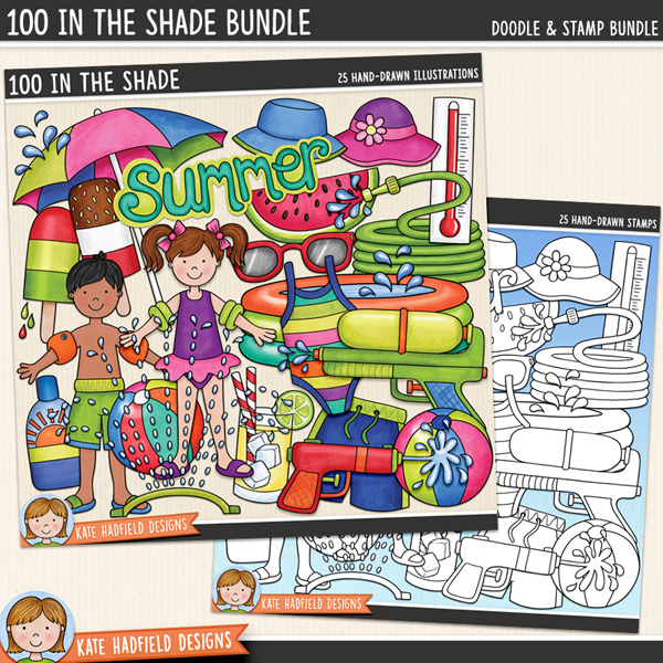 100 In The Shade - summer digital scrapbook elements / cute summer kids clip art! (Clip art and line art bundle). Hand-drawn doodles and illustrations for digital scrapbooking, crafting and teaching resources from Kate Hadfield Designs.