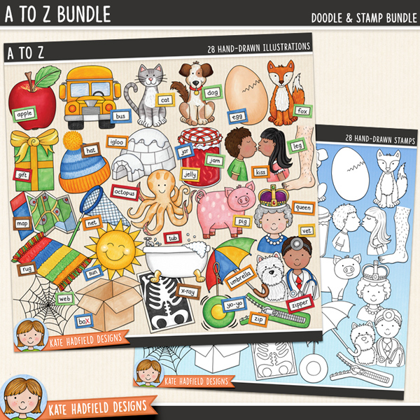 A to Z - cute alphabet / phonics digital scrapbook elements! (Clip art and line art bundle). Hand-drawn doodles and illustrations for digital scrapbooking, crafting and teaching resources from Kate Hadfield Designs.