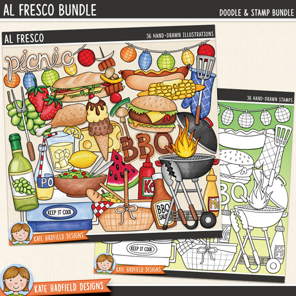 Al Fresco - Picnic digital scrapbook elements / cute summer BBQ & grill clip art! (Clipart and line art bundle). Hand-drawn illustrations for digital scrapbooking, crafting and teaching resources from Kate Hadfield Designs. #digiscrap #digitalscrapbooking