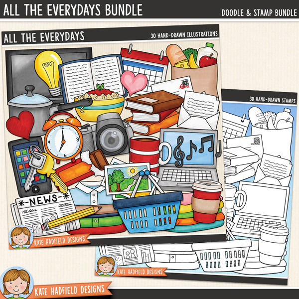 Everyday objects digital scrapbook elements / cute and colourful household items clip art! (Clipart and line art bundle). Hand-drawn doodles for digital scrapbooking, crafting and teaching resources from Kate Hadfield Designs.