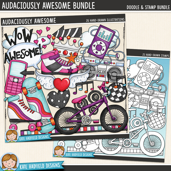 Tween and teen digital scrapbook elements / funky skater girl clip art! (Clip art and line art bundle). Hand-drawn illustrations for digital scrapbooking, crafting and teaching resources from Kate Hadfield Designs.