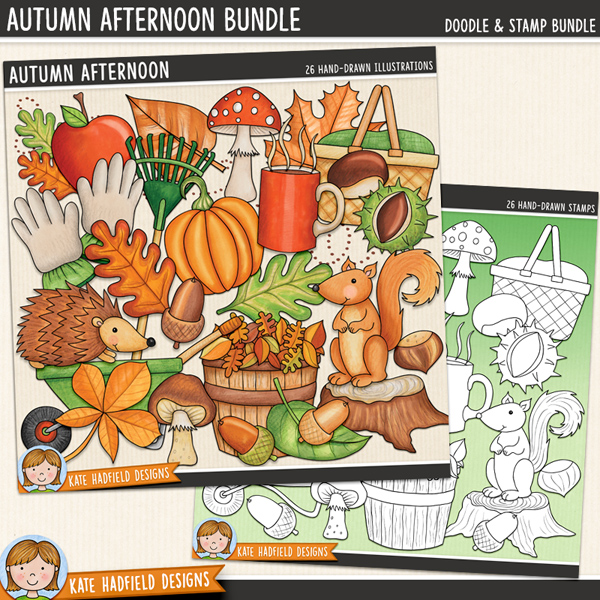 Autumn Afternoon - fall digital scrapbook elements and cute autumn leaves clip art pack! Clip art and line art bundle. Hand-drawn illustrations for digital scrapbooking, crafting and teaching resources from Kate Hadfield Designs.