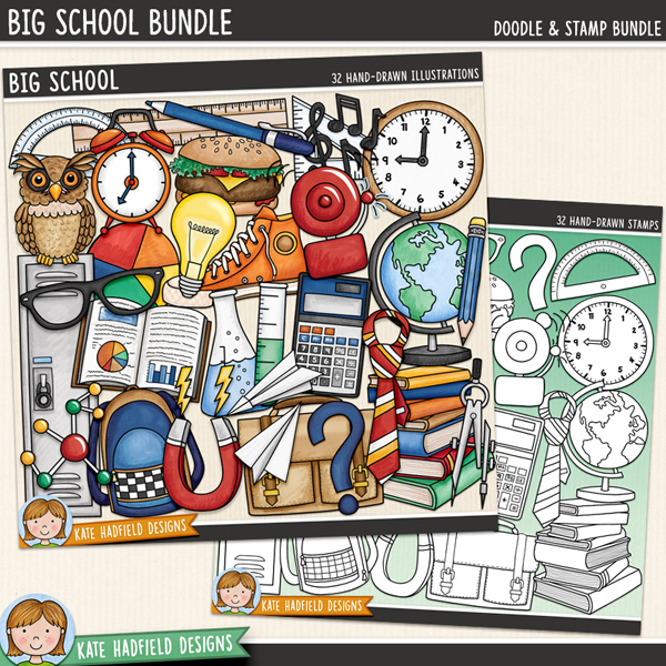 Big School - School digital scrapbook elements / cute high school clip art! (Clipart and line art bundle). Hand-drawn doodles and illustrations for digital scrapbooking, crafting and teaching resources from Kate Hadfield Designs.