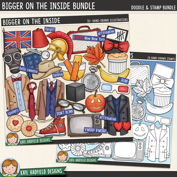 Bigger on the Inside celebrates the new era of my favourite sci-fi series! Contains the following hand drawn doodles: 3D glasses, apple, banana, bow tie, crack, cube, bowl of custard, diary, 2 fezzes, 2 fishfingers, British flag, gas mask, glasses, 2 hearts, 2 jam biscuits, key, leaf, 3 outfits, paper, roman helmet, shoe, soufflé, Stetson, suitcase, tally marks, tie, TV and fob watch. Also contains the following wordy-bits: affirmative, ALLONS-Y!, bigger on the inside, DON'T BLINK, fanboy, fangirl, FANTASTIC!, GERONIMO!, hello sweetie, I wear a ......... now ......... are cool!, I love New New York, new who, NO MORE, still not ginger, OOOH WEEE OOOH, pretend its a plan, Rule No.1, ...RUN!, run for your life!, The Doctor will see you now, shenanigans, smaller on the outside, spoilers, timey-wimey, VWORP VWORP.	Extra Value Bundle containing:			Bigger on the Inside 			Bigger on the Inside Stamps	FOR PERSONAL / LIMITED S4H USE (please see my Terms of Use for more information)