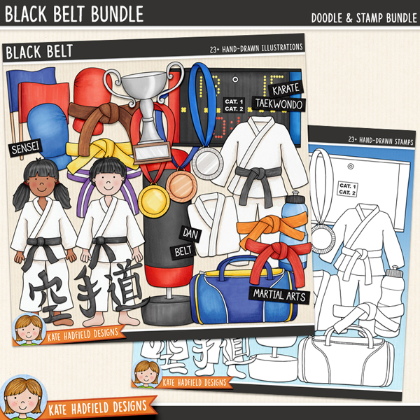 Karate digital scrapbook elements / cute martial arts clip art! (Clip art and line art bundle). Hand-drawn doodles and illustrations for digital scrapbooking, crafting and teaching resources from Kate Hadfield Designs.