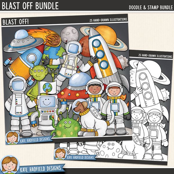 Blast Off digital scrapbook elements / cute space and planets clip art! Clip art and line art bundle. Hand-drawn illustrations for digital scrapbooking, crafting and teaching resources from Kate Hadfield Designs.