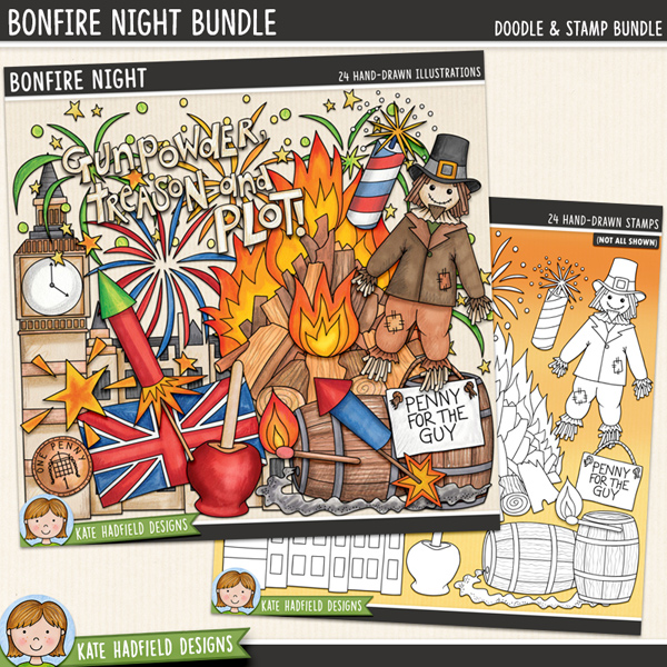 Bonfire Night - Guy Fawkes Night digital scrapbook elements and clip art! (Clipart and line art bundle). Hand-drawn doodles and illustrations for digital scrapbooking, crafting and teaching resources from Kate Hadfield Designs.