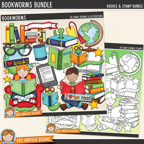 Bookworms - learning to read themed digital scrapbook elements / cute reading kids clip art! (Clipart and line art bundle). Hand-drawn doodles for digital scrapbooking, crafting and teaching resources from Kate Hadfield Designs.