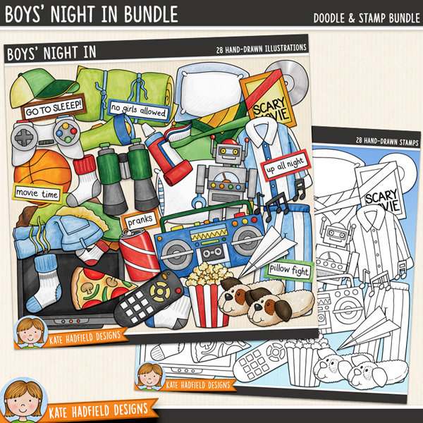 Boys' Night In digital scrapbook elements / fun slumber party and sleepover clip art! (Clipart and line art bundle!) Hand-drawn doodles and illustrations for digital scrapbooking, crafting and teaching resources from Kate Hadfield Designs.