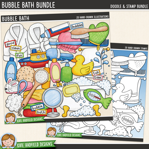 Bubble bath digital scrapbooking elements / cute bath-time clip art! (Clip art and line art bundle). Hand-drawn doodles and illustrations for digital scrapbooking, crafting and teaching resources from Kate Hadfield Designs.