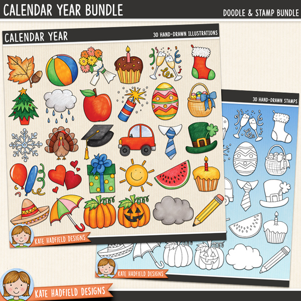 Calendar Year digital scrapbook elements / cute calendar icons clip art! (Clipart and line art bundle). Hand-drawn illustrations for digital scrapbooking, crafting and teaching resources from Kate Hadfield Designs.
