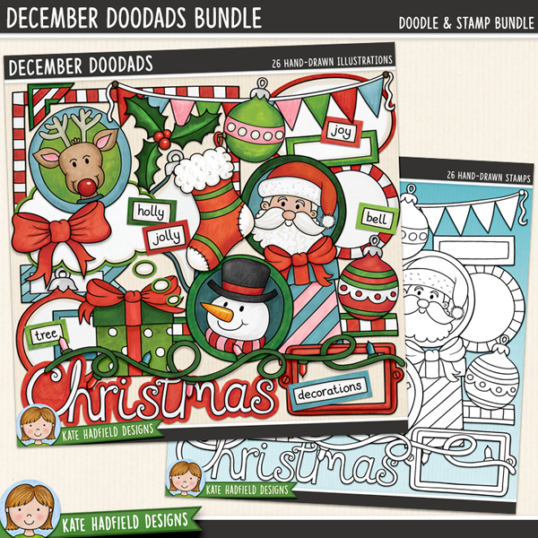 December Doodads - retro Christmas digital scrapbook elements / cute Christmas characters clip art! (Clipart and line art bundle). Hand-drawn doodles for digital scrapbooking, crafting and teaching resources from Kate Hadfield Designs. #digitalscrapbooking