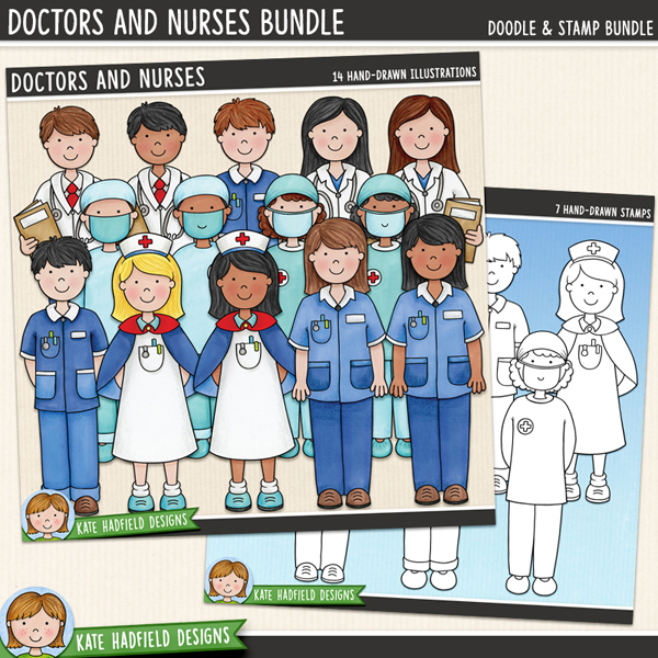 Doctors and Nurses digital scrapbook elements / cute medical staff clip art! (Clip art and line art bundle). Hand-drawn illustrations for digital scrapbooking, crafting and teaching resources from Kate Hadfield Designs.