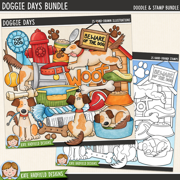 Doggie Days - Dog digital scrapbook elements / cute doggy and puppy clip art! (Clip art and line art bundle). Hand-drawn illustrations for digital scrapbooking, crafting and teaching resources from Kate Hadfield Designs.
