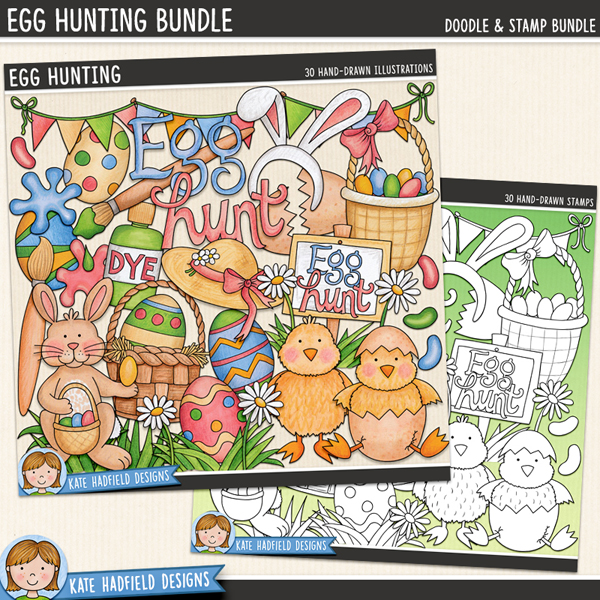 Egg Hunting - Easter digital scrapbook elements / cute Easter egg hunt clip art! (Clipart and line art bundle). Hand-drawn illustrations for digital scrapbooking, crafting and teaching resources from Kate Hadfield Designs.