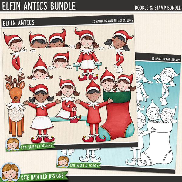 Elfin Antics - Christmas Elf digital scrapbook elements / cute elves clip art! (Clipart and line art bundle.) Hand-drawn doodles for digital scrapbooking, crafting and teaching resources from Kate Hadfield Designs.