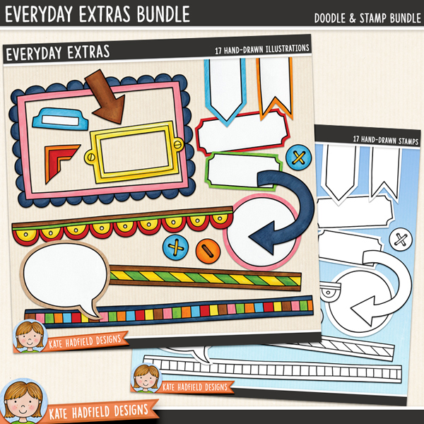 Everyday Extras Bundle - decorative details digital scrapbook elements / clip art! (Clipart and line art bundle). Hand-drawn doodles for digital scrapbooking, crafting and teaching resources from Kate Hadfield Designs.