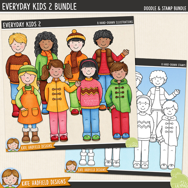 Everyday Kids 2 digital scrapbook elements / cute autumn kids clip art! (Clipart and line art bundle!) Hand-drawn doodles and illustrations for digital scrapbooking, crafting and teaching resources from Kate Hadfield Designs