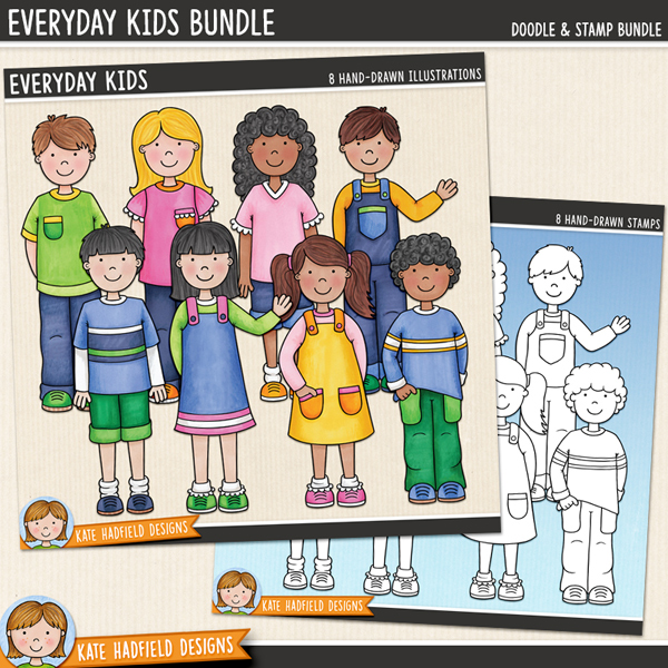 Everyday Kids digital scrapbooking elements / cute kids clip art! Clip art and line art bundle. Hand-drawn illustrations for digital scrapbooking, crafting and teaching resources from Kate Hadfield Designs.