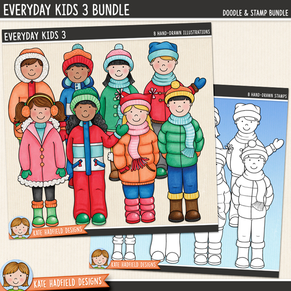 A collection of cute everyday kids all wrapped up and ready for some winter fun! Contains 8 kids as pictured, 4 boys and 4 girls.Extra Value Bundle containing:Everyday Kids 3Everyday Kids Stamps 3Supplied in two zip file downloadsFOR PERSONAL & EDUCATIONAL USE (please see myTerms of Usefor more information)
