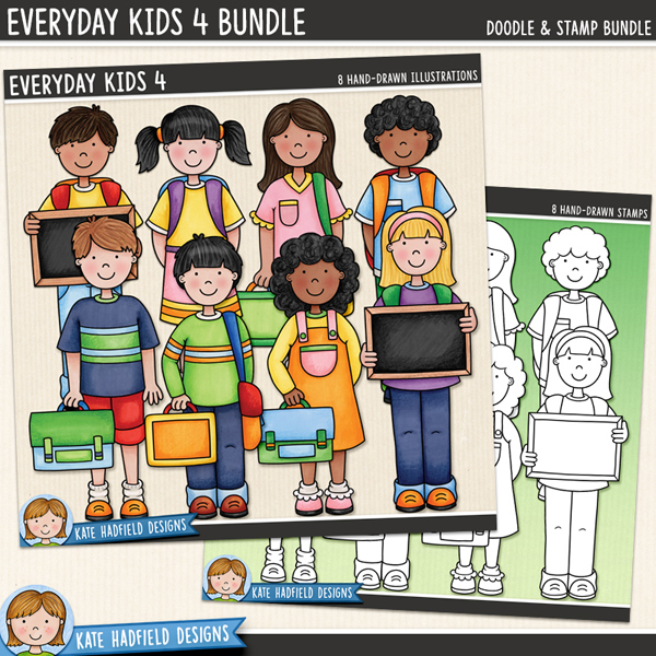 A collection of cute everyday kids all ready for school with their backpacks and lunch boxes! Contains 8 kids as pictured, 4 boys and 4 girls.Co-ordinates with myFirst Day Of School illustrations!Extra Value Bundle containing:Everyday Kids 4Everyday Kids Stamps 4Supplied as two zip file downloadsFOR PERSONAL & EDUCATIONAL USE (please see myTerms of Usefor more information)
