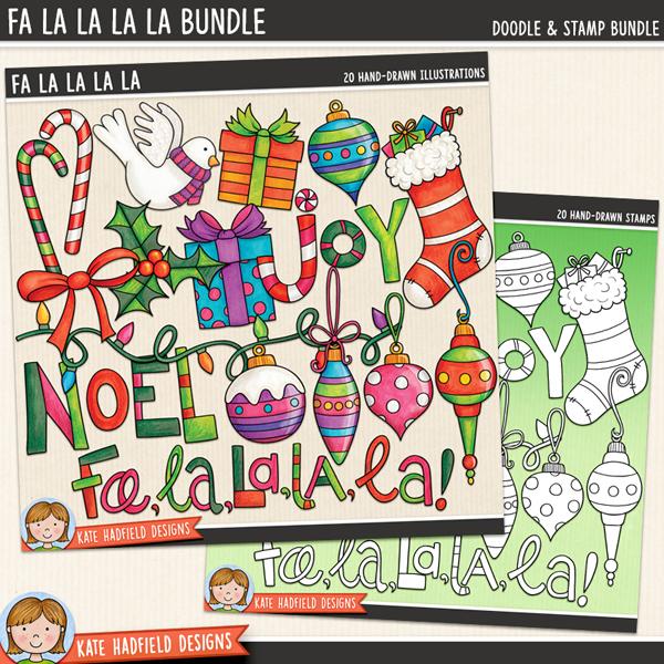 Fa La La La La - Christmas ornament digital scrapbook elements / cute holiday decorations clip art! (Clipart and line art bundle). Hand-drawn illustrations for digital scrapbooking, crafting and teaching resources from Kate Hadfield Designs.