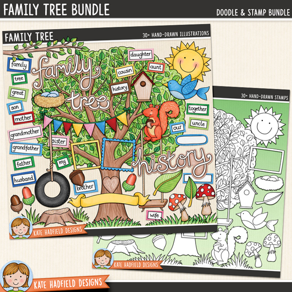 Family Tree digital scrapbook elements / cute tree clip art! (clip art and line art bundle). Perfect for family heritage and genealogy projects! Hand-drawn doodles and illustrations for digital scrapbooking, crafting and teaching resources from Kate Hadfield Designs.